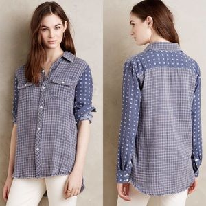 New Anthropologie Blue Ridge Plaid Chambray Top